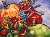 Tomber dans les pommes, acrylique, 27 x 37,2 cm, 2011, CP